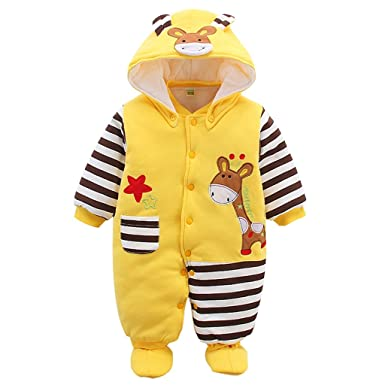 6060cf21853c Newborn Baby Rompers with Footies Hat Boys Girls Jumpsuit Winter Outfits Set,  0-3