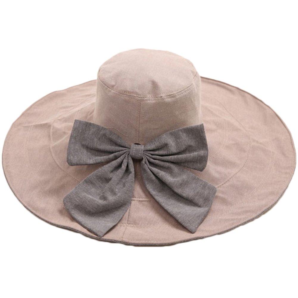 Cappello da Sole,Donne Delle Ragazze Spiaggia Di Modo Anti-UV Decorazione Bowknot Tesa Larga Cappell...