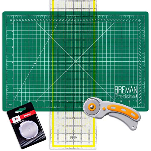 WA Portman Rotary Cutter Set - Rotary Fabric Cutter with 5 Extra Cutter Blades - 12x18 Inch Self Healing Cutting Mat - 6x24 Inch Quilting Ruler - Craft Supplies Set for Sewing and Quilting