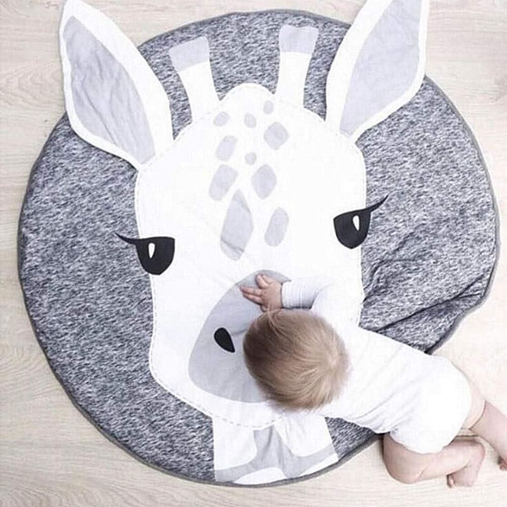 USTIDE Baby Rugs Creeping Crawling Mat Cartoon Sleeping Rugs, Children Anti-Slip Game Mat Cotton Floor Play Mat Blanket Play Environmental Carpet Kids Room Decor 37.4 x 37.4 Giraffe