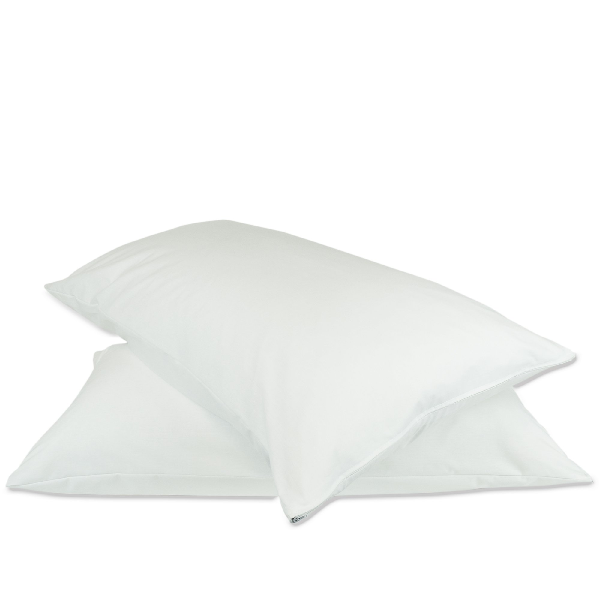 BC BARE COTTON Luxury Hotel Collection Plain Pillow Protectors - Zipper - King Size - White - Set of 2
