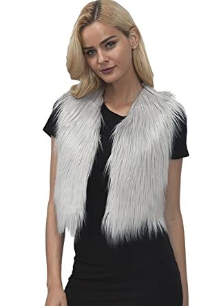 official photos 86c45 8ef0f Vlunt Fellweste Damen elegant Weste Fell Jacke Ärmellose Pelz Westen Faux  Fur Vest Gilet Waistcoat Kunstpelz Weste