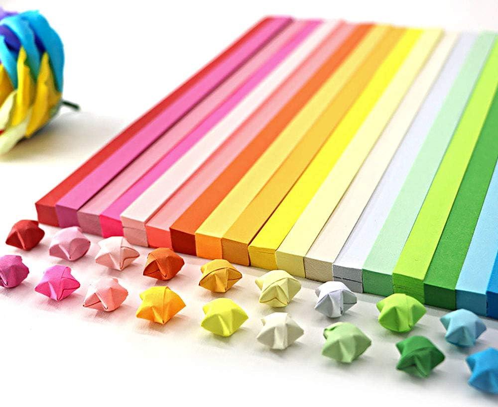 MHwan Carta di Stelle Origami Stelle Origami 1030 Fogli Colore Brillante Fai-da-te Strisce di Carta Pieghevole a Forma di Stella Fortunata Striscia di Origami per Arte e Artigianato per Bambini