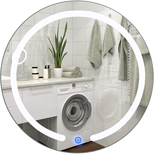 """20/"""" LED Mirror Illuminated Light Wall Mount Bathroom Round Make Up Touch Button"""