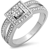 0.25 Carat (ctw) Sterling Silver White Diamond Ladies Split Shank Bridal Engagement Ring 1/4 CT