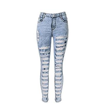 Wgwioo Pantalones Vaqueros De Las Mujeres Disco Alto Waisted ...