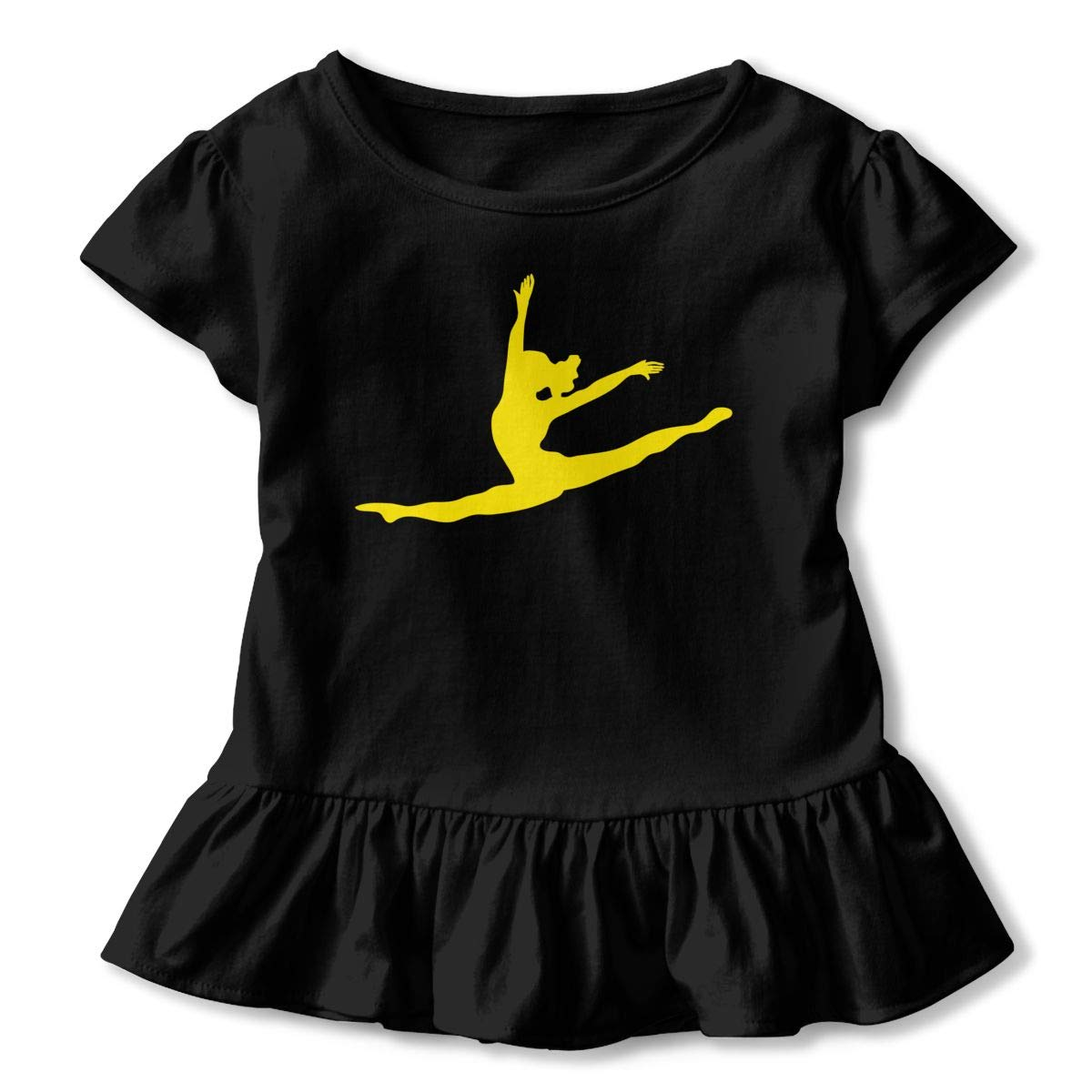 2-Pack Cotton Tee Dancer Leap Silhouette Baby Girls Short Sleeve Ruffles T-Shirt Tops