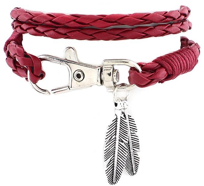 Kanggest pulsera de tejido de piel muñeca banda para hombres/mujeres, Colgante de pluma pulsera de tejido a mano unisex cool Fashion Punk multica (rojo)