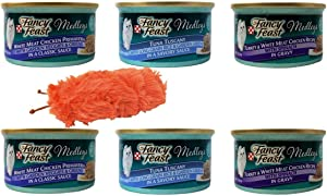 Fancy Feast Medleys Cat Food - 3 Flavor Variety with Catnip Crinkle Toy Sampler Bundle,(2) Each: White Meat Chicken Primavera, Tuna Tuscany, Turkey White Meat Chicken - 3 Ounces (6 Cans Total)