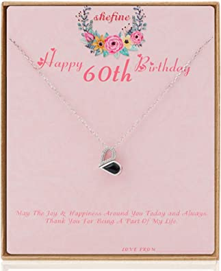 60th Birthday Gifts for Women Funny 60th Birthday Gifts for Women Stainless Steel Womens Yellow Zircon Heart Necklace 60 Year Old Birthday Gifts for Women