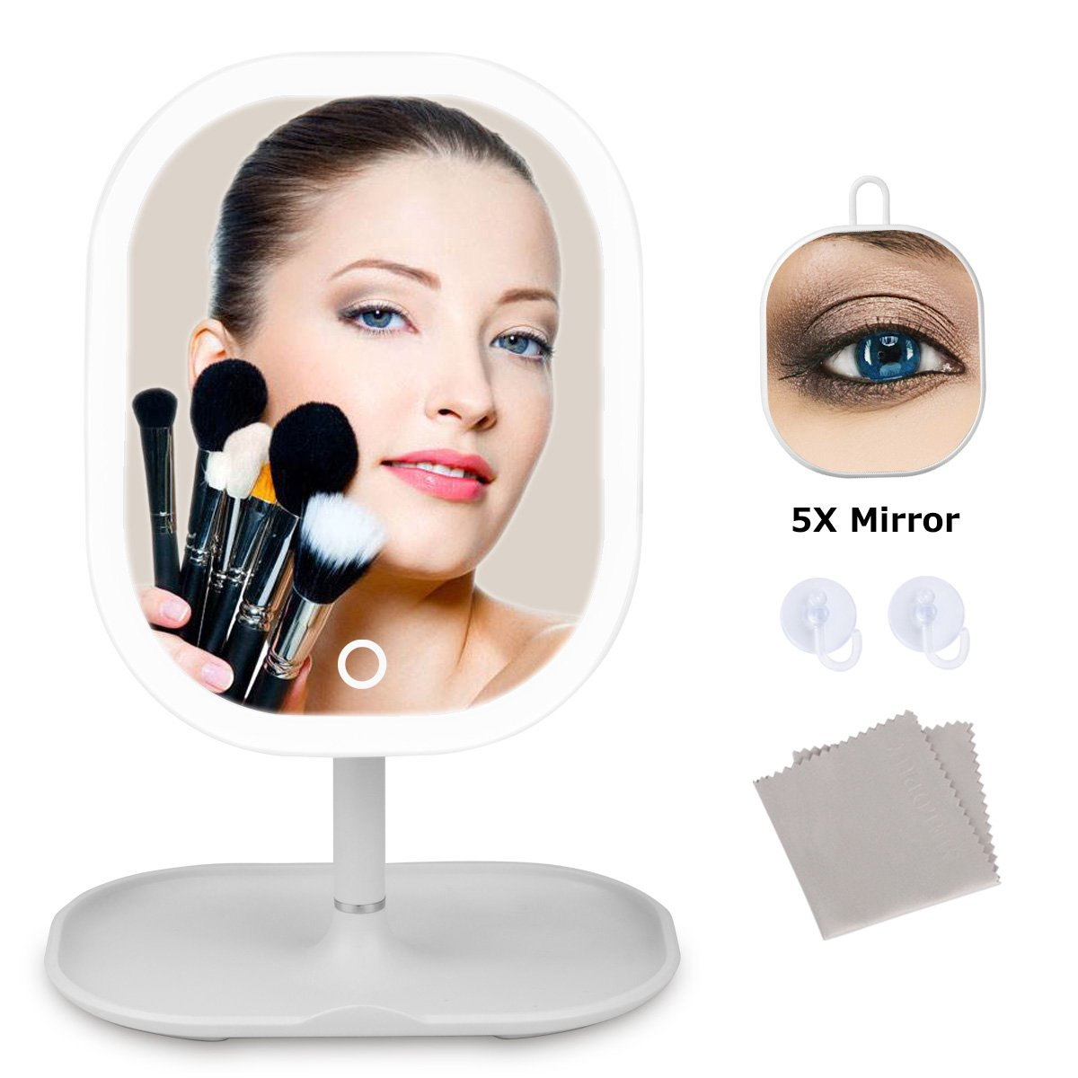 Melophy-Houstor Lighted Makeup Mirror, Rechargeable LED Travel Mirror Detachable 5X Magnification, Touch Dimmable Light Vanity Mirror, Portable Countertop Cosmetic Mirror, White