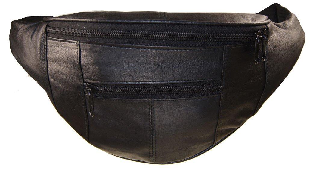Black Leather Waist Fanny Pack Travel Belt Bag Hip Travel Pouch 40'' Waist
