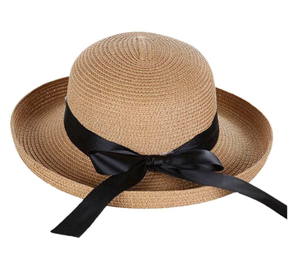 Lady Summer Straw Hat Beach Hat Sun Hat Wide Brim Hat Black Temptation