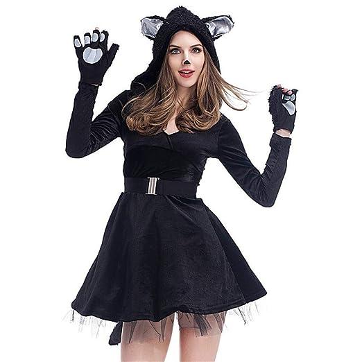 HUBINGRONG Cosplay Traje de Halloween Vestidos Sexy Negro ...