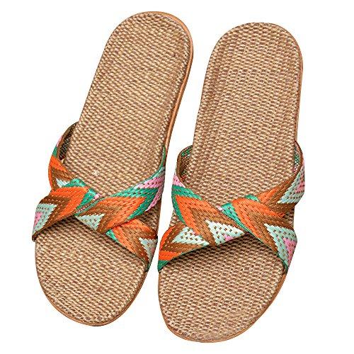 Sandali Spiaggia Eizur Punta Ciabatte 2 Tipo Pantofole Antiscivolo Doccia Lino Casuali Scarpe Da Piscina Piatte Aperta EvrYvqCw