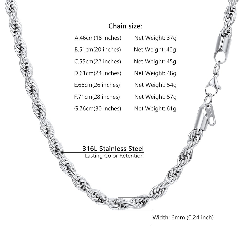 Staineless Steel//925 Sterling Silver PROSTEEL Delicate Rope Chain Necklace Layering Chains 1.3mm//1.6mm//3mm//5mm//6mm 18//20//22//24//26//28//30 Mens Womens Jewelry