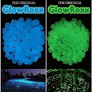100pcs Glow piedras, hombre pledger piedra para jardín pasarela al aire libre Fish Tank, azul