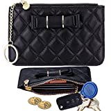 Lecxci [Plaid] Soft Genuine Leather Coin Purse, Slim Small Zipper Wallet Case with Credit / ID / Commuter Card Slots, Coin Change Pouch Holder with Car Home Key Ring (Black)