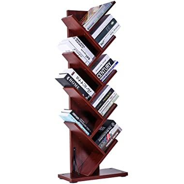 SUPERJARE 9-Shelf Tree Bookshelf | Thickened Compact Book Rack Bookcase | Display Storage Furniture for CDs, Movies & Books | Holds Up to 10 Books Per Shelf | Cherry