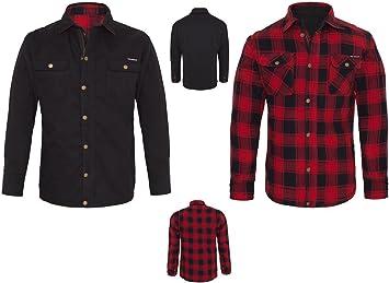 Camisa King Kerosin chaqueta reversible de Kevlar, color rojo y negro, lona, talla XL