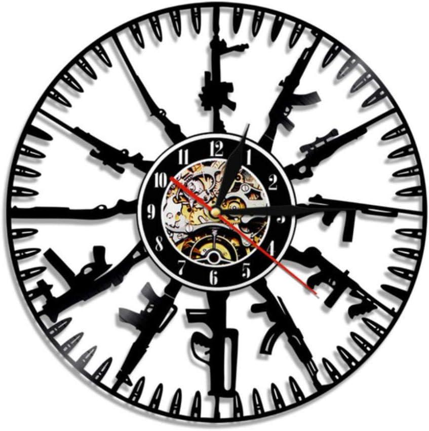 LYHZXC Reloj De Pared De Vinilo Bullet Time Reloj De Pared Pistola Municiones Decoración del Hogar Disco De Vinilo Militar Mural-No_Led