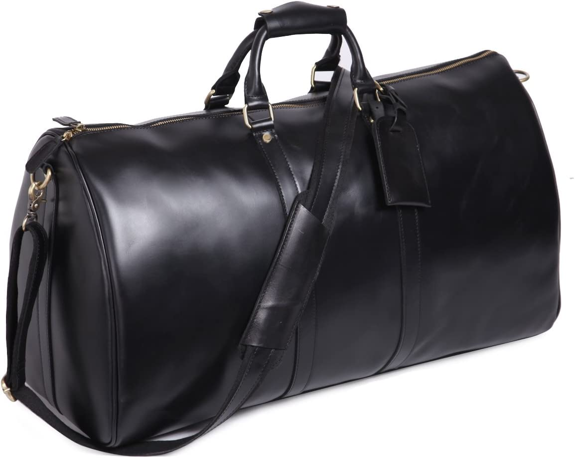 Leathario Mens Genuine Leather Overnight Travel Duffle Overnight Weekender Bag Luggage Carry On Airplane Black-122
