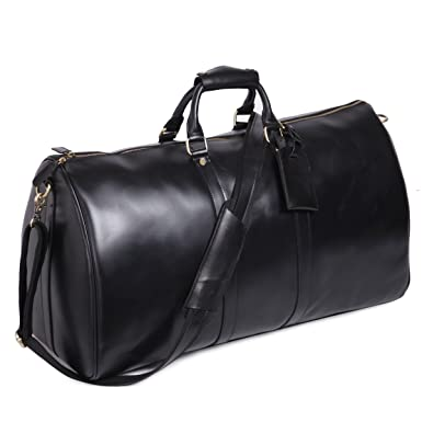 Amazon.com | Leathario Mens Genuine Leather Overnight Travel ...