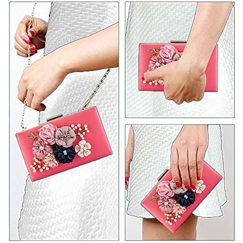Cocktail Purses Red Clutches Flowers Artificial Pearls PU Handbag Bridal Prom Bag Wedding Party Beaded Evening Bags Women qRBYxvaa