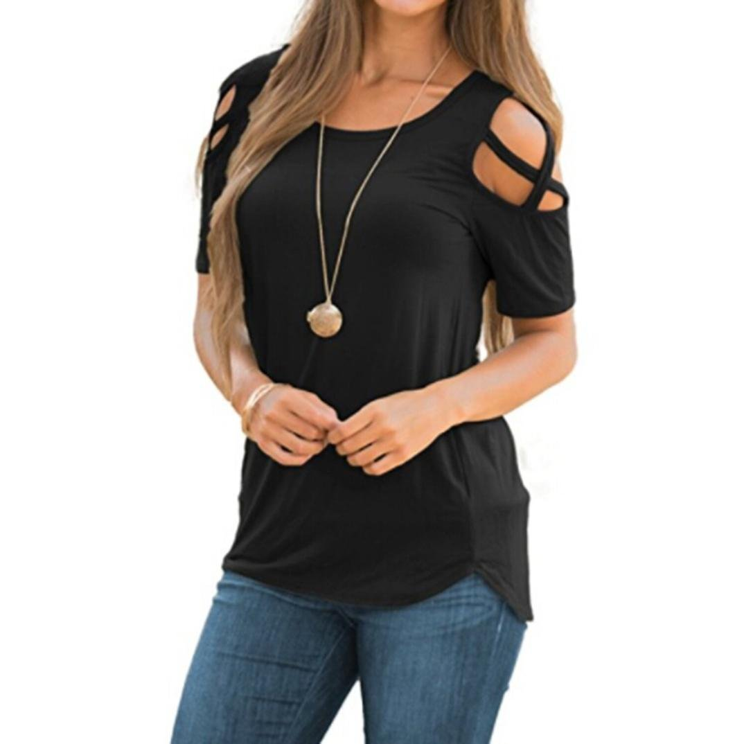 TLTL Women Summer Short Sleeve Strappy Cold Shoulder T-Shirt Tops Blouses (XL, Black)