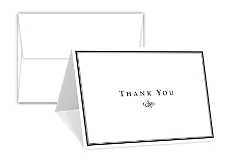 ed2224b4c0862 Thank You Card - 25 Bulk Set of 5x7 Inches Half-Fold Greeting Cards with  Envelopes - Elegant Design Notecard with Blank on the Inside - For  Weddings, ...
