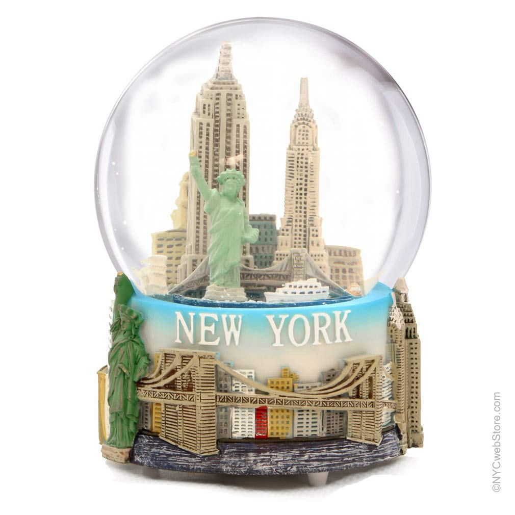 Mini New York City Snow Globe Featuring the NYC Skyline in this Souvenir Figurine with Statue of Liberty, 2.5'' Tall (45mm)