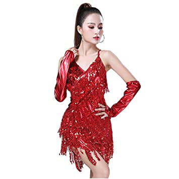 Huatime Latino Danza Ropa Vestido para Mujer - Lentejuelas Flecos ...