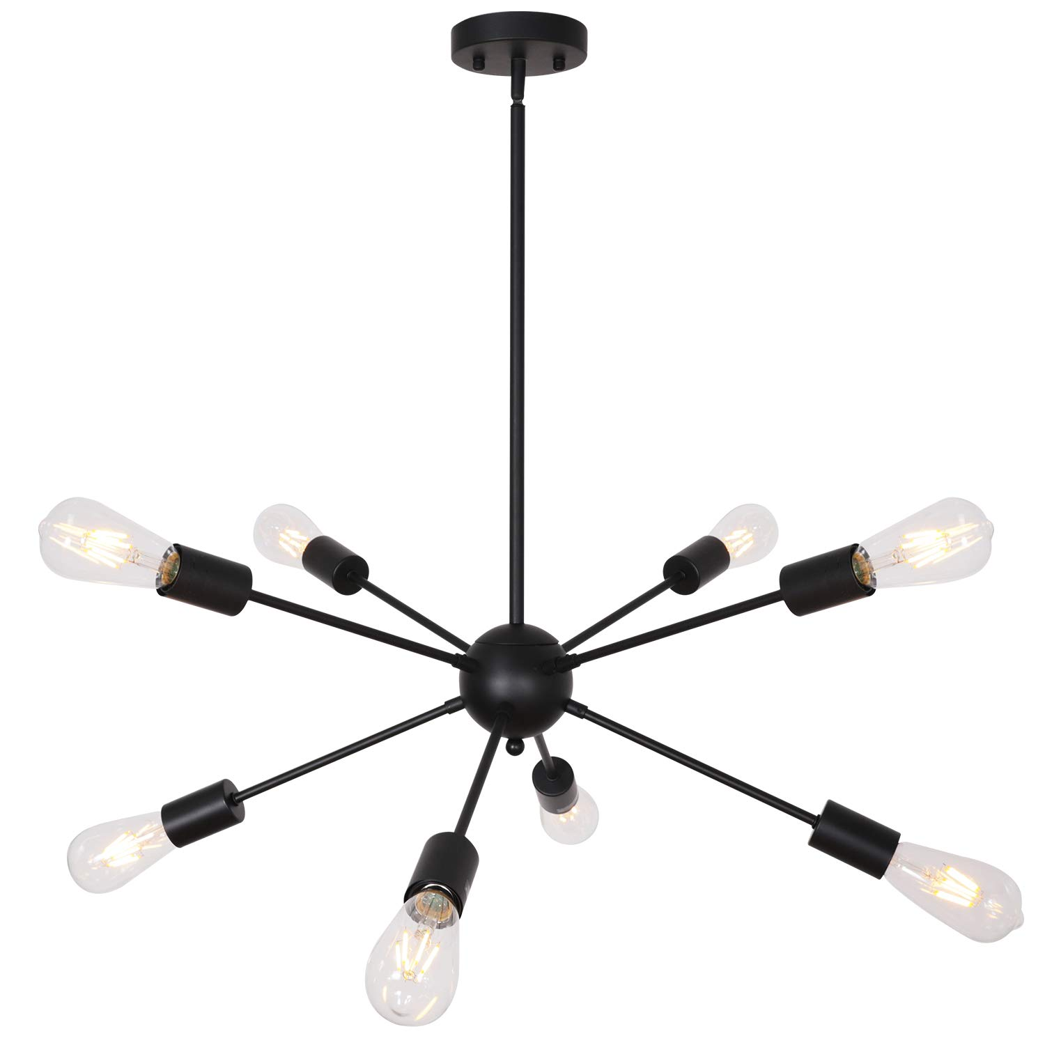 TUDOLIGHT 8 Light Mid Century Modern Sputnik Chandelier Black Industrial Pendant Lighting Fixture for Dining Room Living Room Bedroom UL Listed