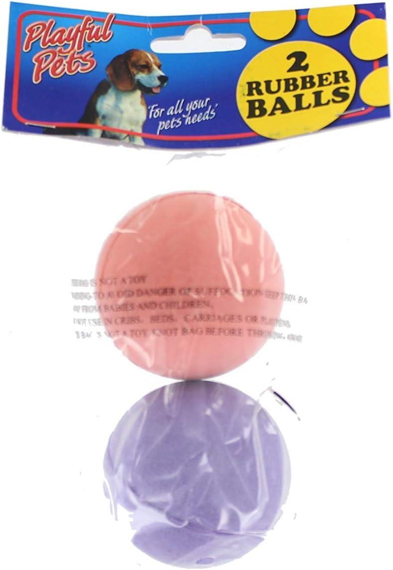 Playful Pets Pack de 2 Bolas de Goma de Colores * Perro Juguetes ...