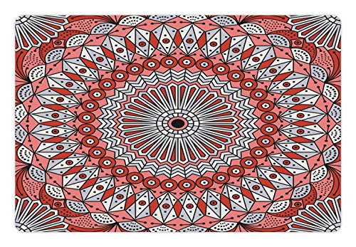 Lunarable Moroccan Pet Mat for Food and Water, Colorful Ethnic Patterned Arabesque Ornament Medieval Openwork Eastern, Rectangle Non-Slip Rubber Mat for Dogs and Cats, Coral Red Pale (Openwork Christmas Ornament)