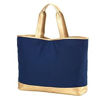 631a369b2 Amazon.com | Special Edition Cabana Canvas Tote Bag With Gold Vegan Leather  Trim Can be Personalized or Monogrammed (Navy) | Travel Totes