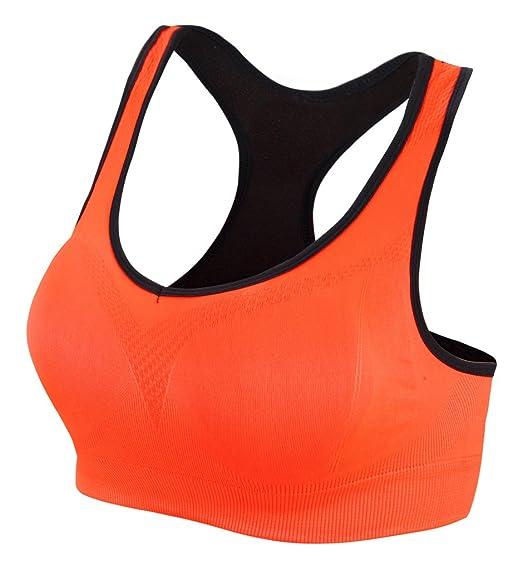 AM CLOTHES Womens Racerback Sports Bras High Impact Workout Gym Activewear  Bra Medium Orange