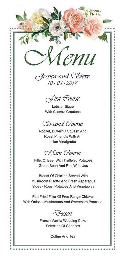 c3e991a972b08 Amazon.com: 20 Personalized Wedding Menu Cards (9x4 Inches) Custom ...