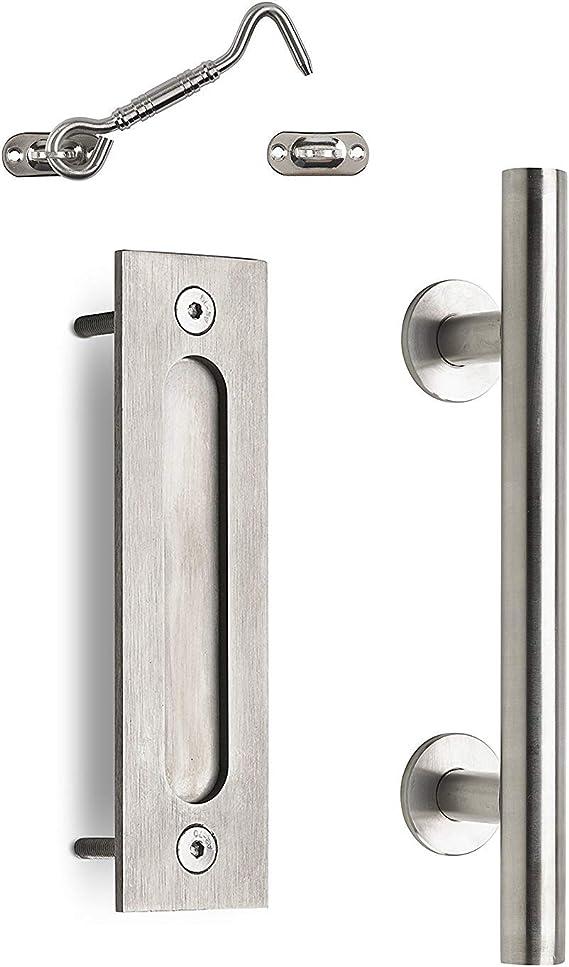 MJC & Company – Tirador de puerta corredera de granero y cerradura de privacidad – Juego de herrajes para interior/exterior – acero inoxidable para dormitorio, baño, armario, cobertizo o puerta: Amazon.es: Bricolaje