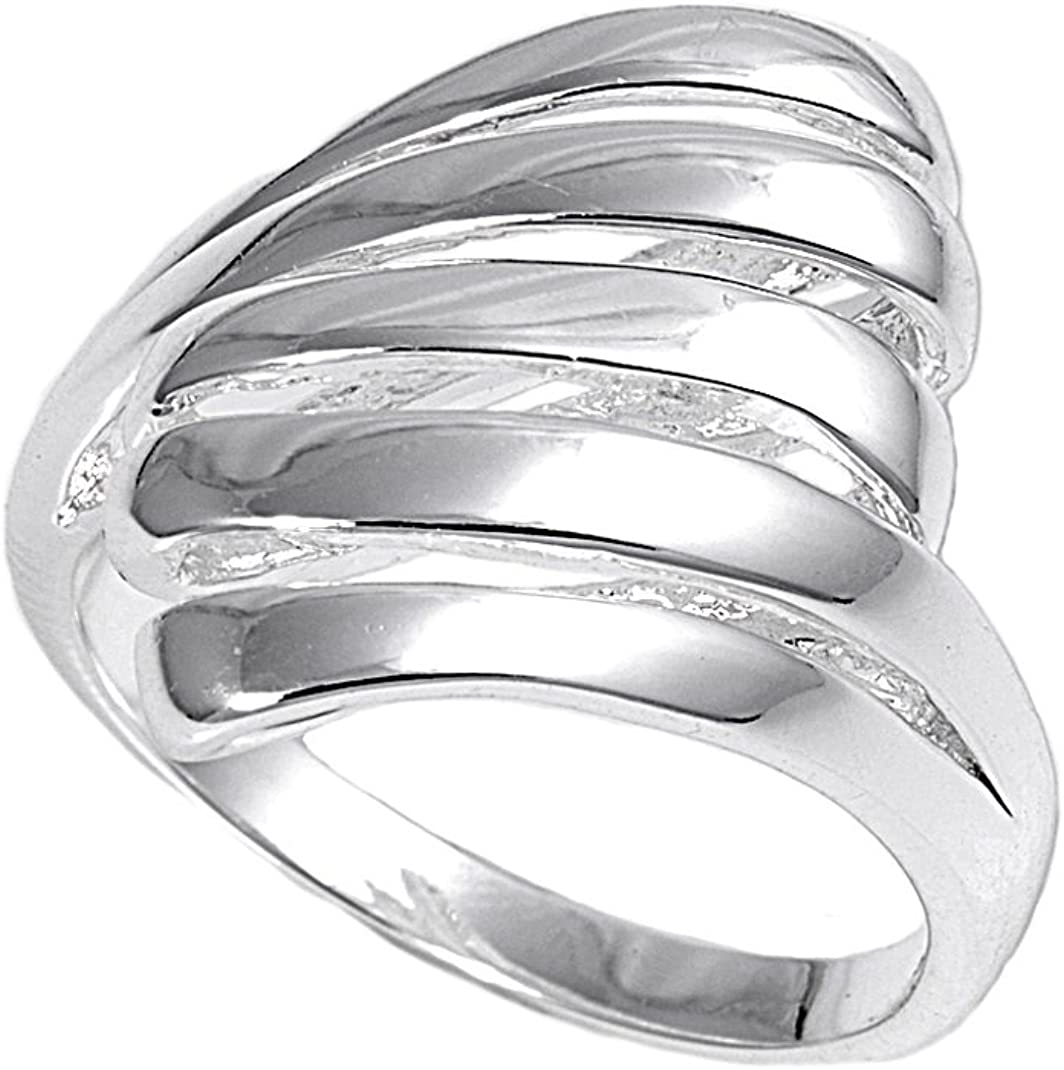Princess Kylie 925 Sterling Silver Striped Simple Design Ring