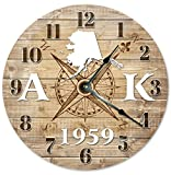 ALASKA STATE CLOCK ESTABLISHED IN 1959 STATEHOOD Decorative Round Wall Clock Home Decor Large 10.5″ COMPASS MAP RUSTIC COUNTRY HOME DECOR, Printed Wood Image Review
