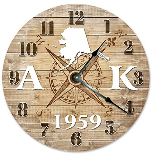 ALASKA STATE CLOCK ESTABLISHED IN 1959 STATEHOOD Decorative Round Wall Clock Home Decor Large 10.5