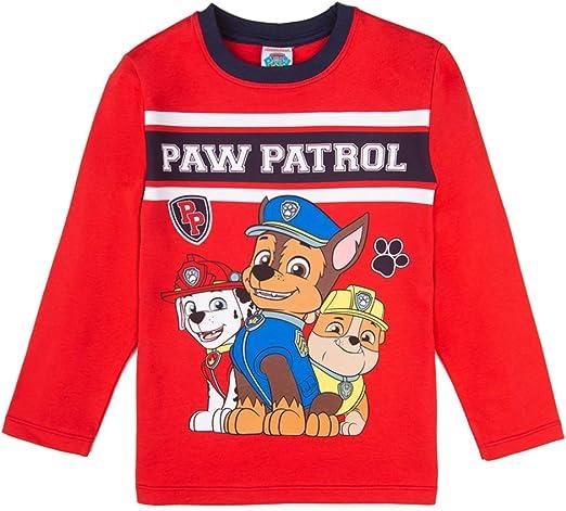 La Patrulla canina, Paw Patrol niños Camiseta, T-Shirt, Manga Larga, Rojo