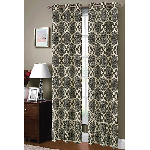Window Elements Diamante Flocked Faux Silk 76 x 84 in. Grommet Curtain Panel Pair, Ivory/Black (Window Covering Ideas)