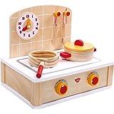 Tooky Toy Spielzeug Herd mit Kochplatten, Topf, Pfanne, Kochlöffel und kleiner Wanduhr - Spielküche als perfekte Vorbereitung für Kinder - ab 36 Monaten - ca. 30 x 23 x 26 cm