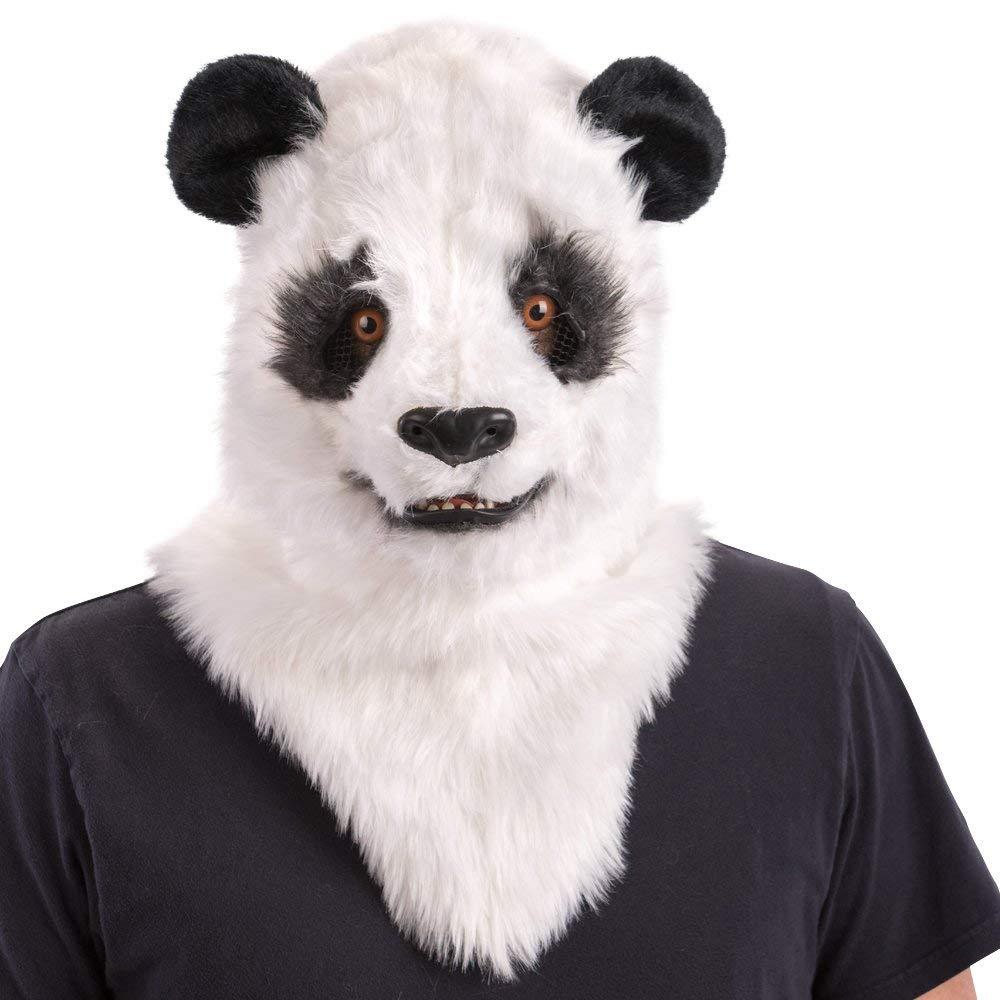 Carnival Toys Maschera panda lusso in peluche mandibola mobile