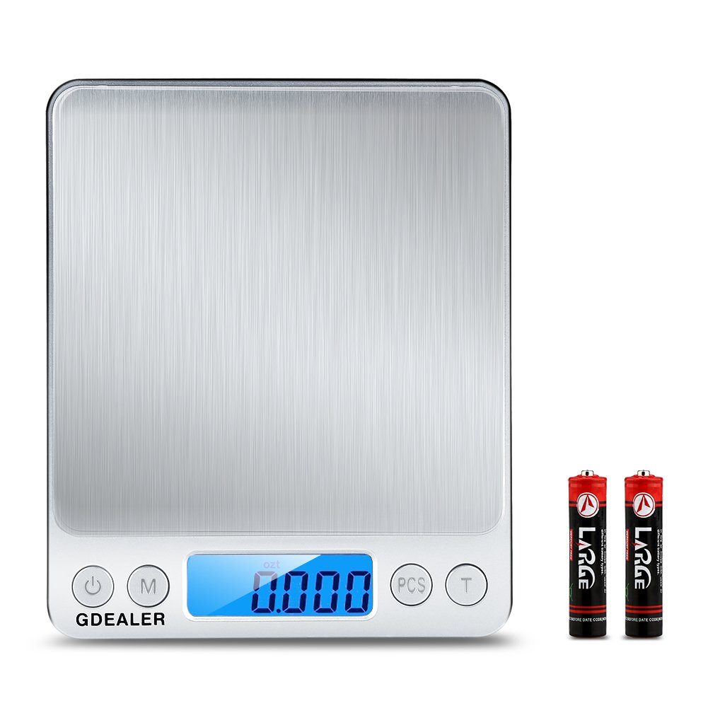 GDEALER DS1 Digital Pocket Kitchen Multifunction Food Scale for Bake Jewelry Weight, 0.001oz/0.01g 500g, Tare, Stainless Steel, 12710619mm, Silver by GDEALER