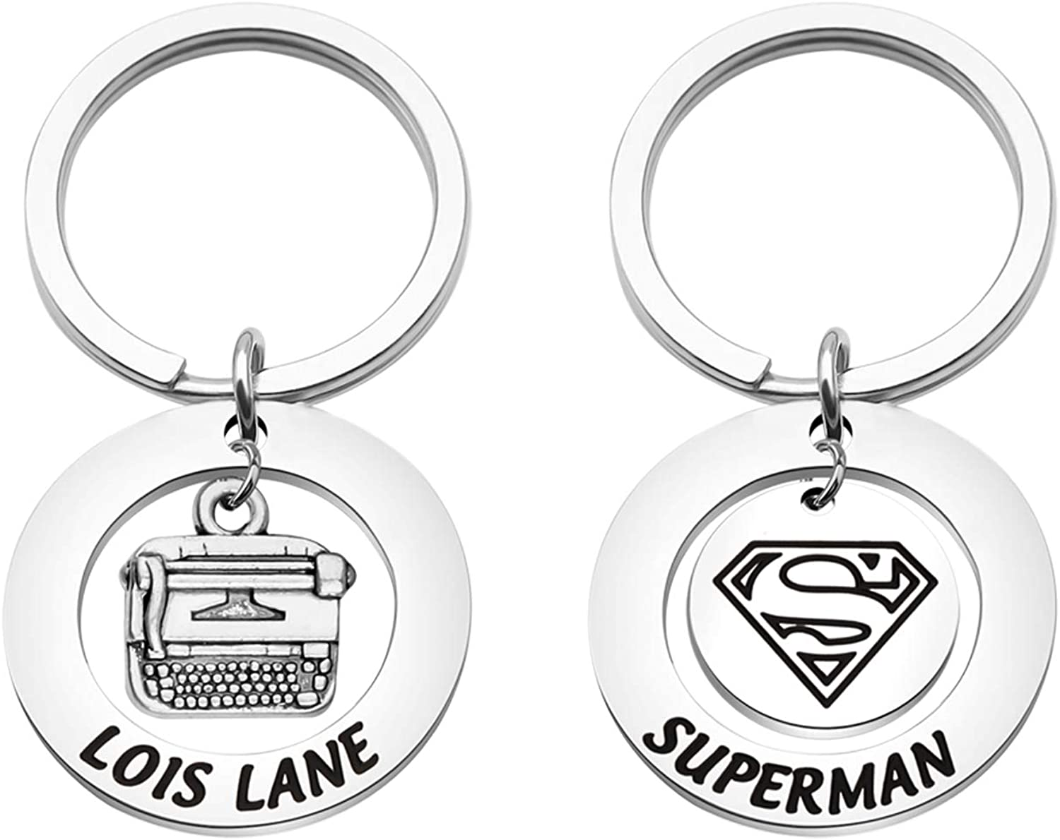 PLITI Superman /& Lois Lane Keychain Set Couple Keyring Dc Comics Fans Gifts Superhero Gifts Clark Kent and Lois Lane Gifts Marvel Avengers Gifts for Couples