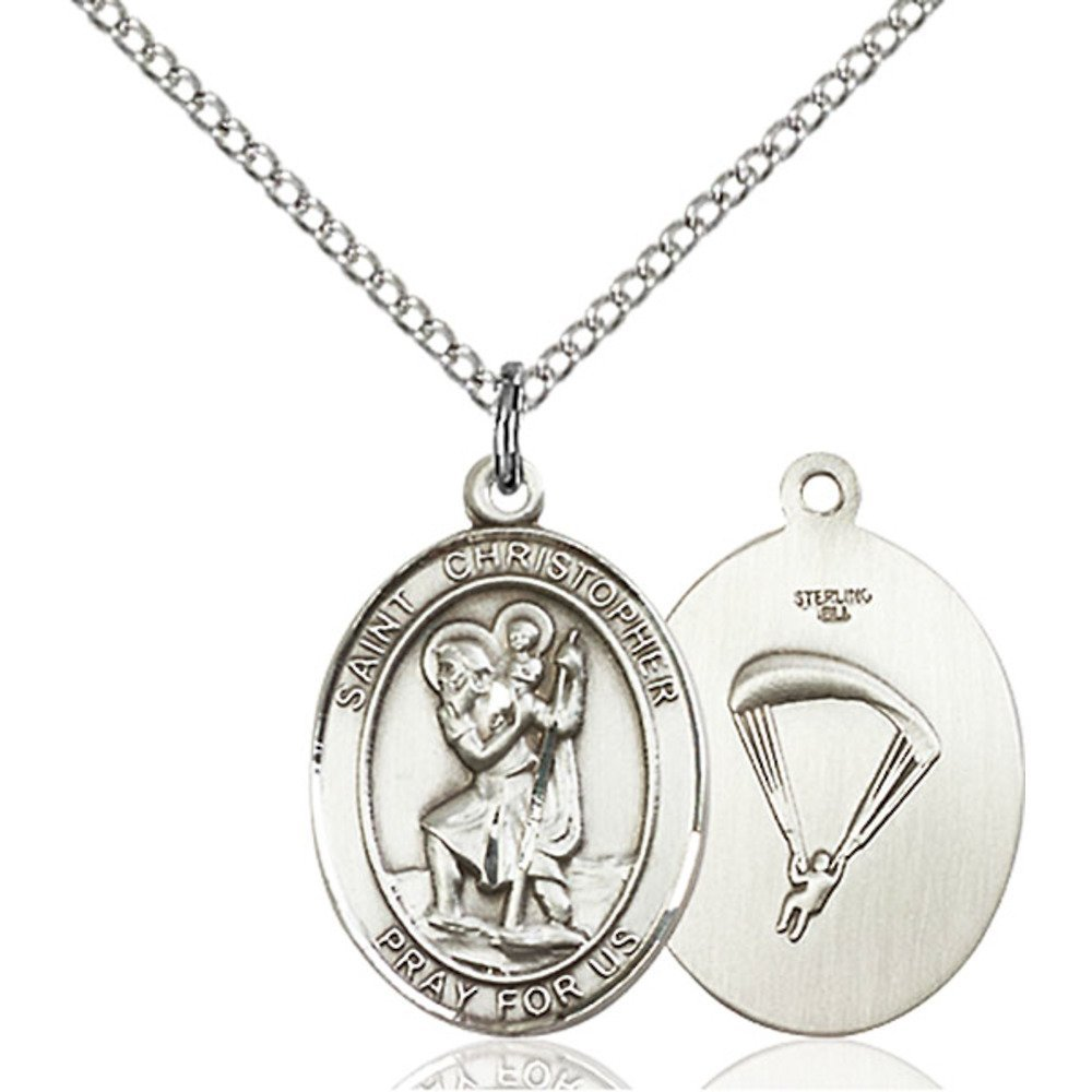 Christopher Paratrooper Hand-Crafted Oval Medal Pendant in Sterling Silver Bonyak Jewelry St
