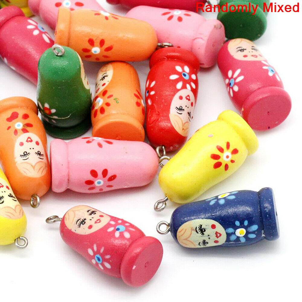 5 Russian Doll Charms Painted Matryoshka Wood Colorful Kitschy Fun - K232 by Dekorcharm